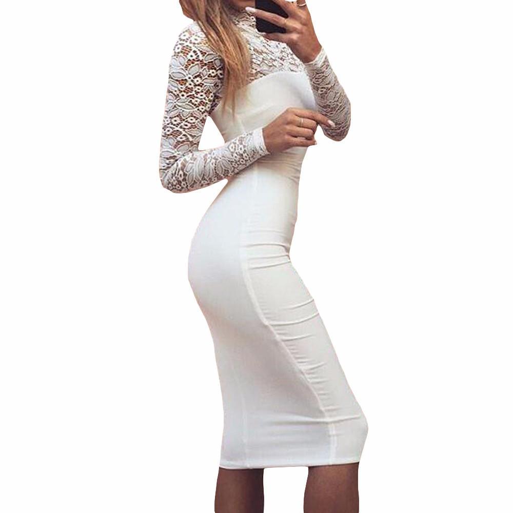 Lace Top Bodycon Midi Dress In 2021 Women Lace Dress Lace White Dress Long Sleeve Bodycon Wrap Dress [ 1000 x 1000 Pixel ]