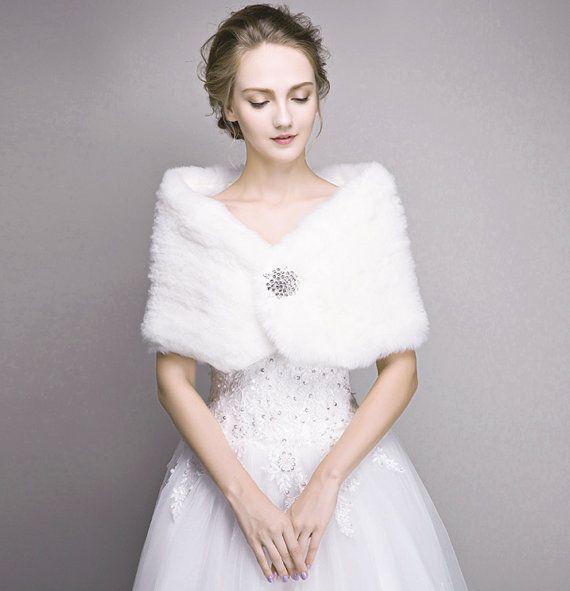Bridal fur stole ivory faux fur shawl wedding winter for Winter shawls for wedding dresses
