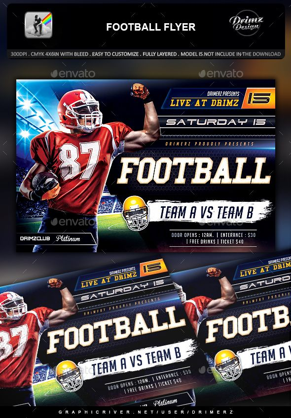 Football Flyer  Flyer Template Template And Event Flyers