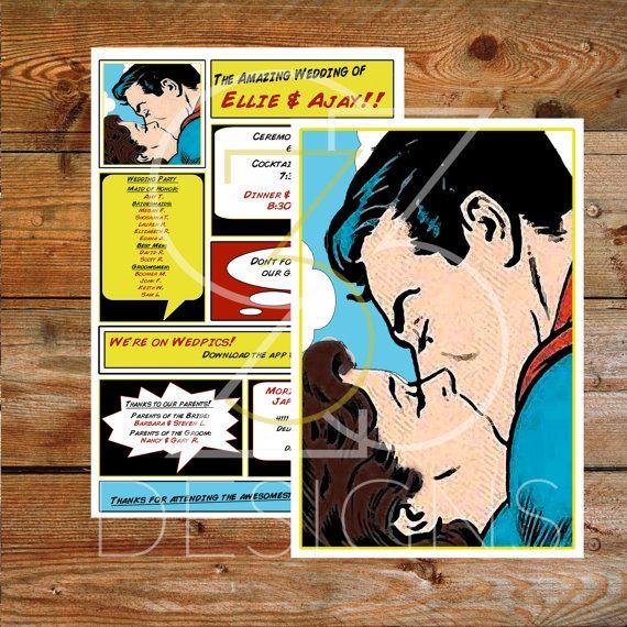 Superhero Wedding Brunette Custom Superman Wedding Digital Invitation Printable By Studio333design Superhero Wedding Comic Book Wedding Superhero Wedding Theme