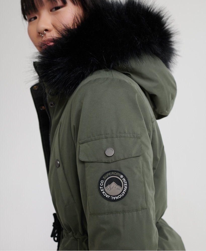 Superdry Nadare Microfibre Parka Women S Jackets Coats Fur Hood Jacket Black Parka Jacket Superdry Jackets [ 1000 x 820 Pixel ]