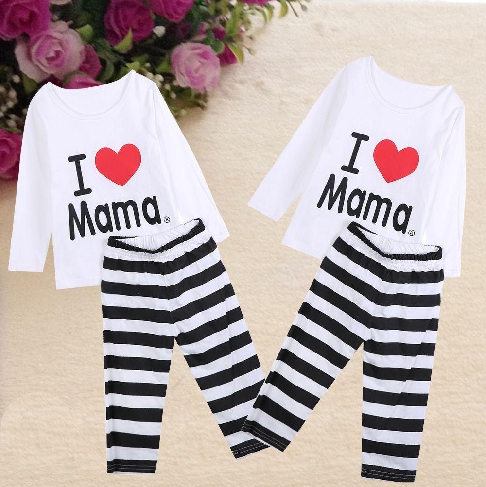 I Love Mama Baby Girls Boys 100% Cotton Shirt Pajamas Pyjamas Set Sleepwear 1-7Y #Affiliate