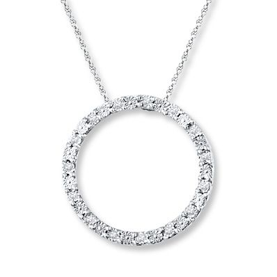 5a5650075 Diamond Circle Necklace 1/20 ct tw Round-cut Sterling Silver ...