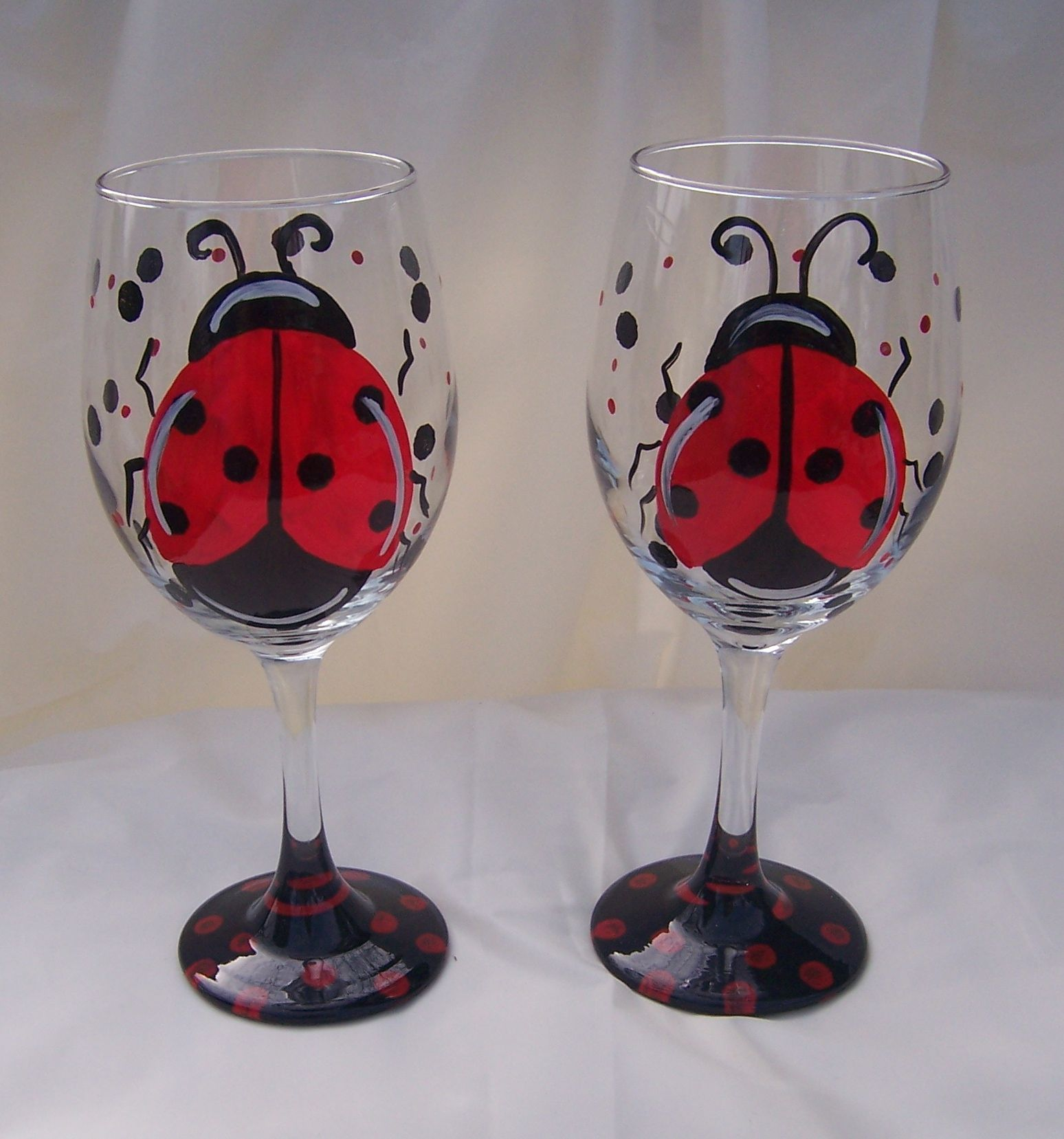 Painting on glass painted mailboxes ladybug and Images of painted wine glasses