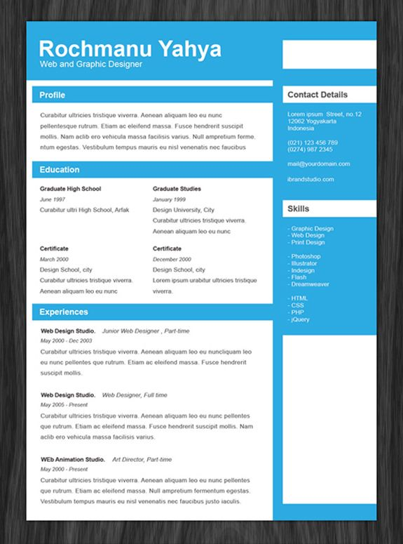 Psd One Page Resume Templates  Job Resume Template And Resume