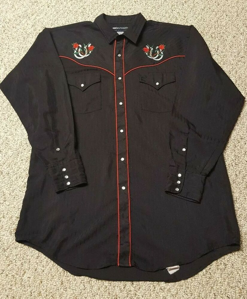 Vintage MWG Apparel Embroidered Cowboy Western Shirt Roses