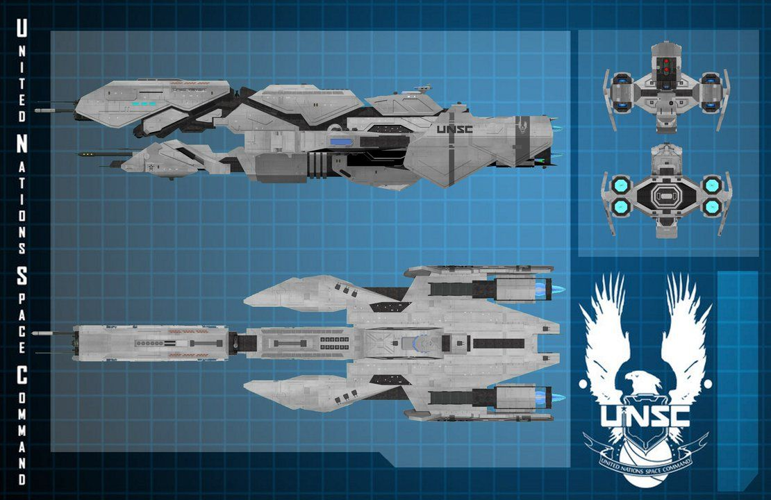 Halo Frigate UNSC Triton Plans by calamitySi deviantart com on