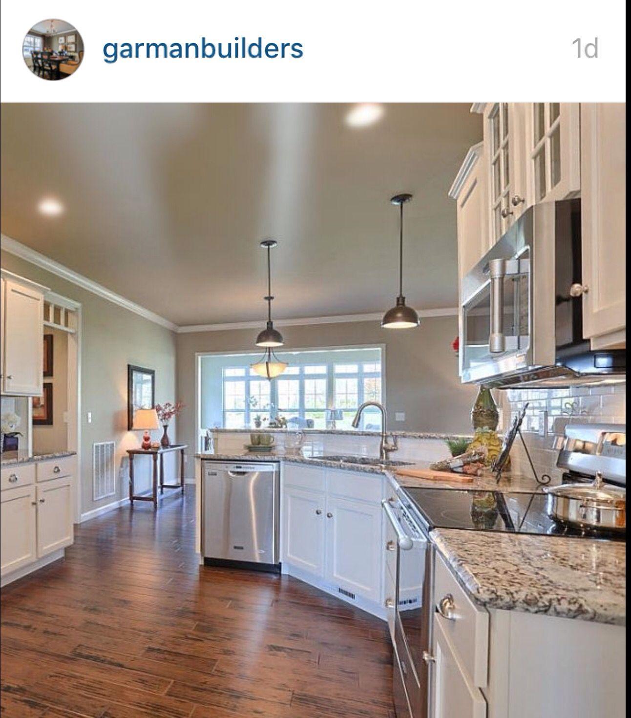 I love this kitchen!!! Open airy, white grey