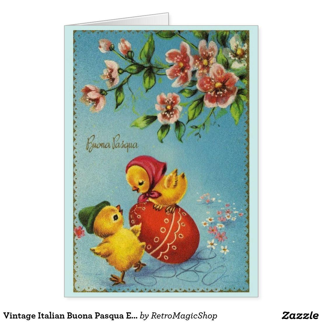 Vintage Italian Buona Pasqua Easter Card Pinterest
