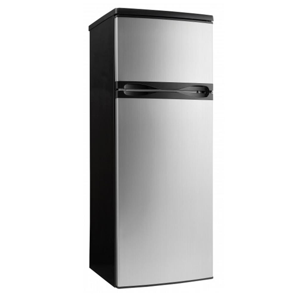 Apartment Size Top Freezer Refrigerator In Black And Stainless Steel