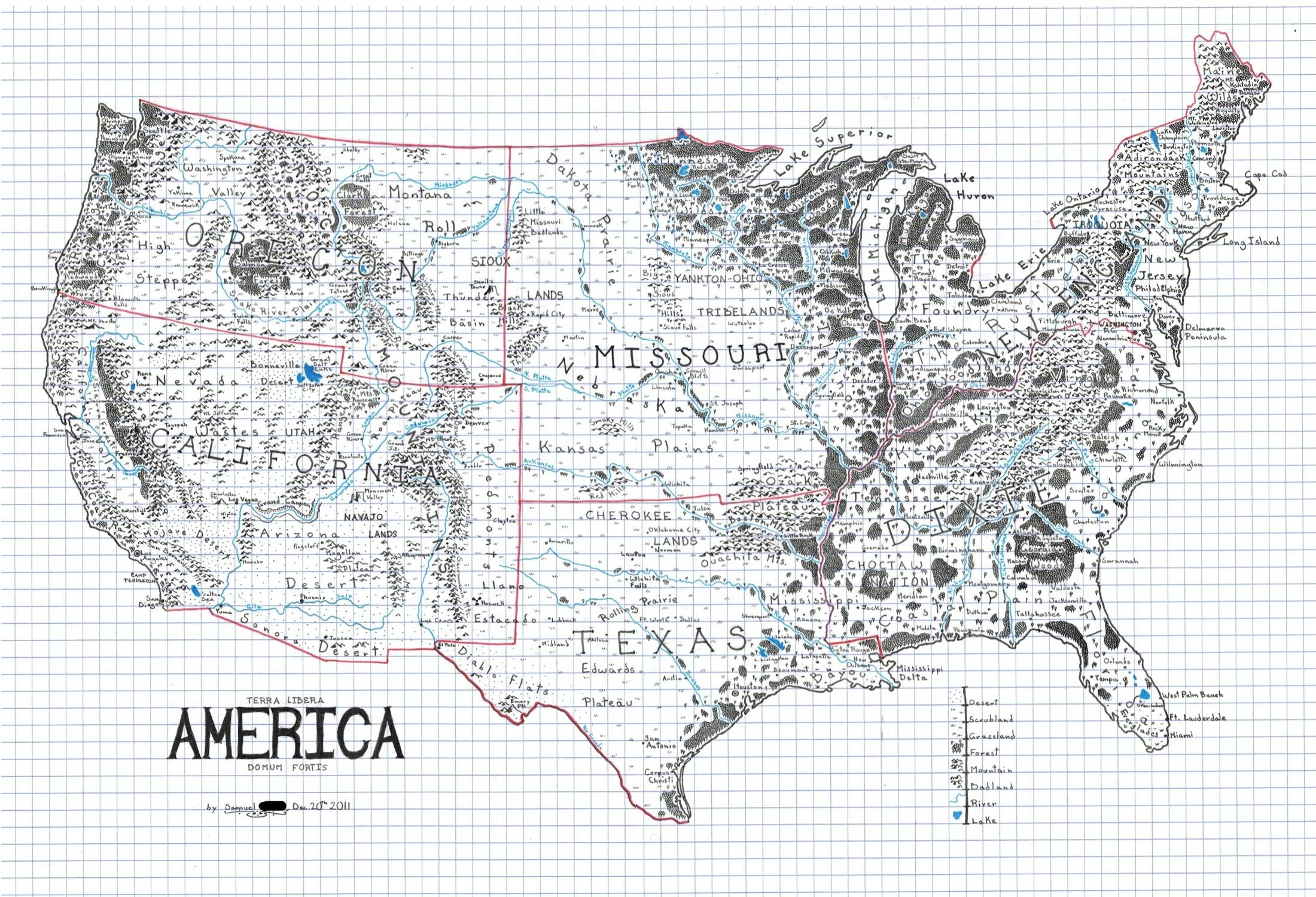 Hand Drawn Us Map.Hand Drawn Map Of A Fantasy America 2200x1500 X Post R