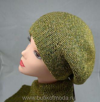 зеленый вязаный шарф и берет женский комплект вязаный зеленого цвета от производителя шарфов Италии