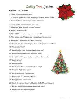 Holiday Trivia Challenge Handouts For All Content Areas Holiday Facts Christmas Trivia Printable Christmas Games