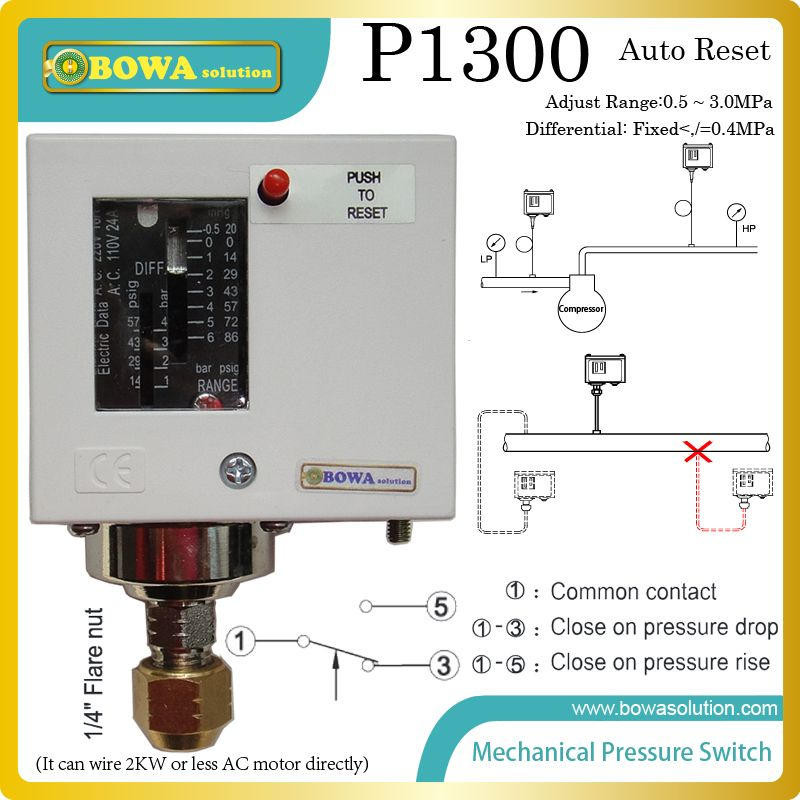 Auto Reset High Pressure Switches Installed Outlet Of Condenser To