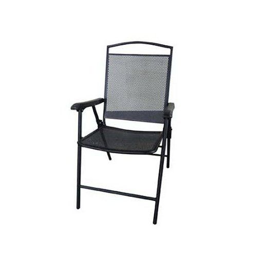 Courtyard Creations FLS080 Folding Steel Mesh Patio Chair, 24.82 By  22.85 Inch, Black