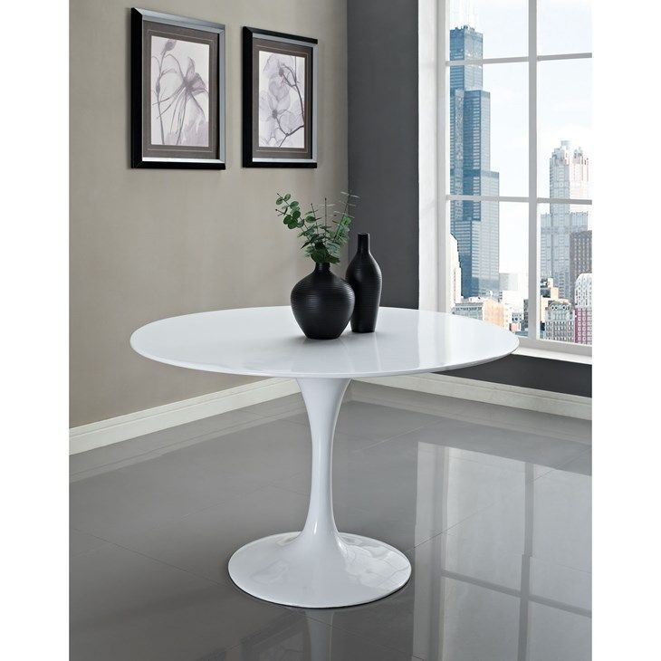 Lippa 48 Quot Round Fiberglass Dining Table In White Lexmod