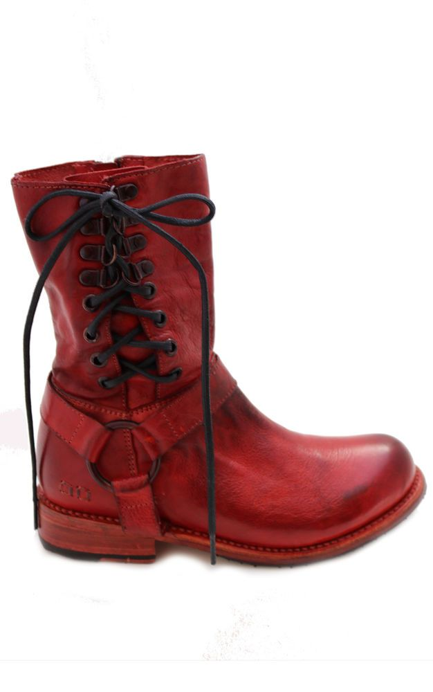 NEW Bed Stu Boho Leather Elsworth Boots Red Dip Dye Sz 6.5