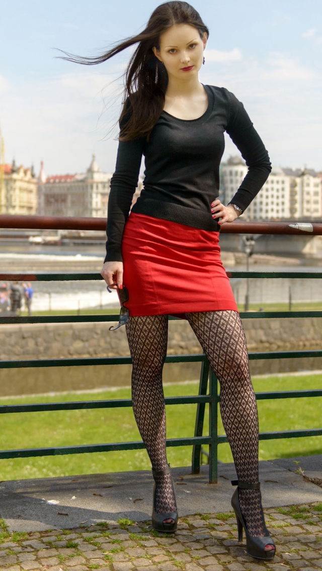 Stunning Teen Model Shot Studio Stock Photo 10059178: Stunning Teen In Patterned Tights / Pantyhose And High