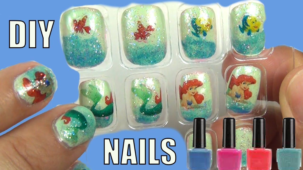 Make Customized Disney Princess Nails Little Mermaid Nail Art Diy