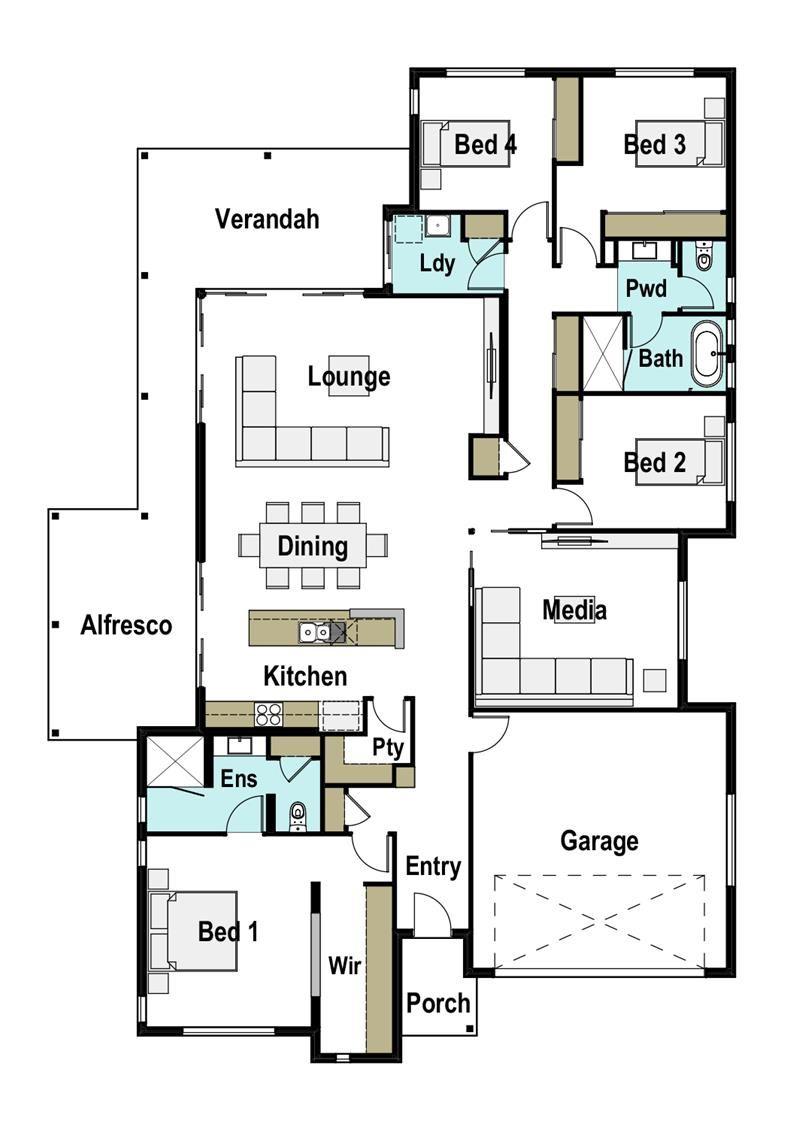 House Design Render Horizon 280 Floor Plans 4 Bedroom House Plans Bedroom House Plans