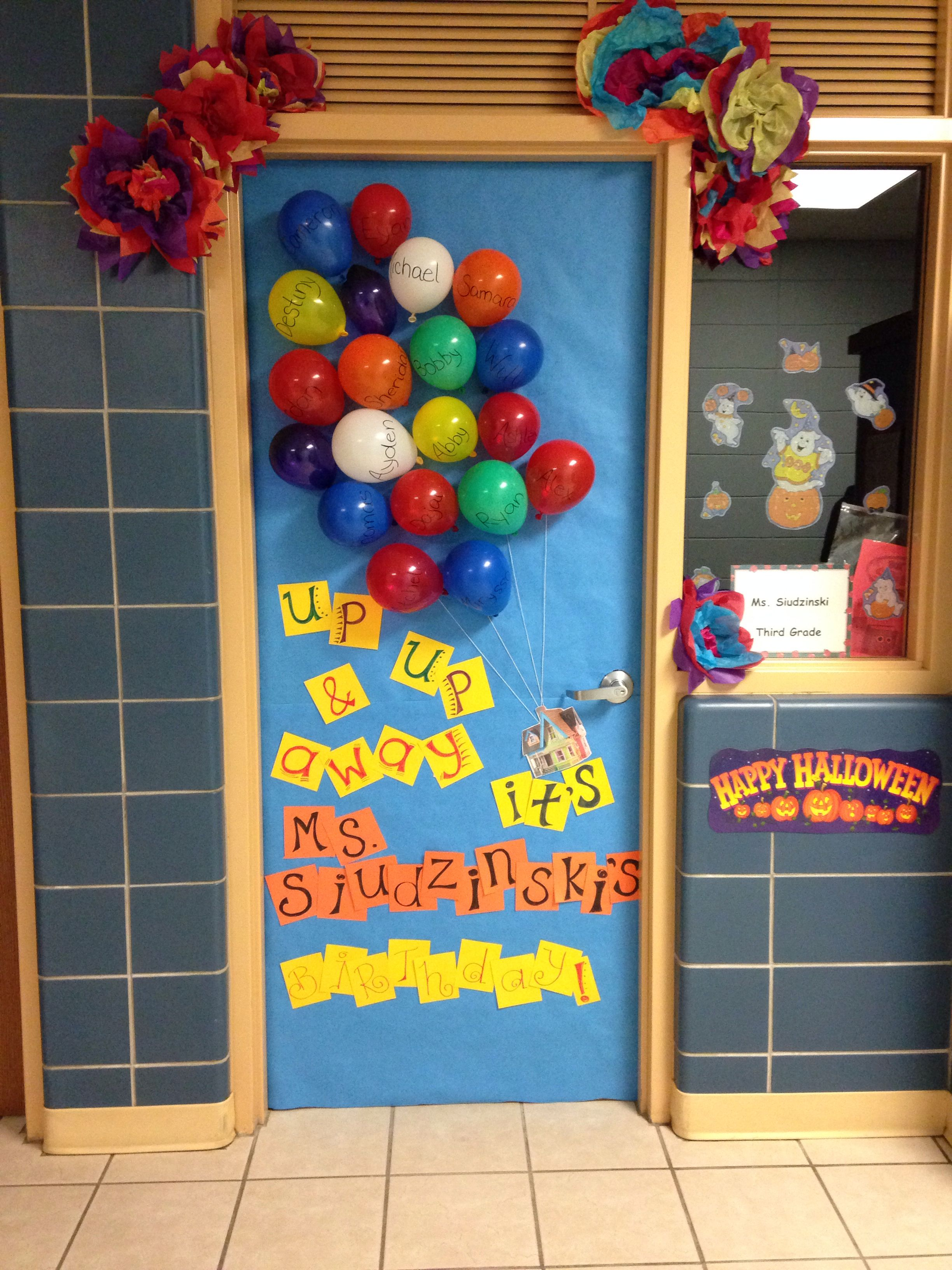 Teacher Birthday Surprise Door Decoration #teacherbirthday
