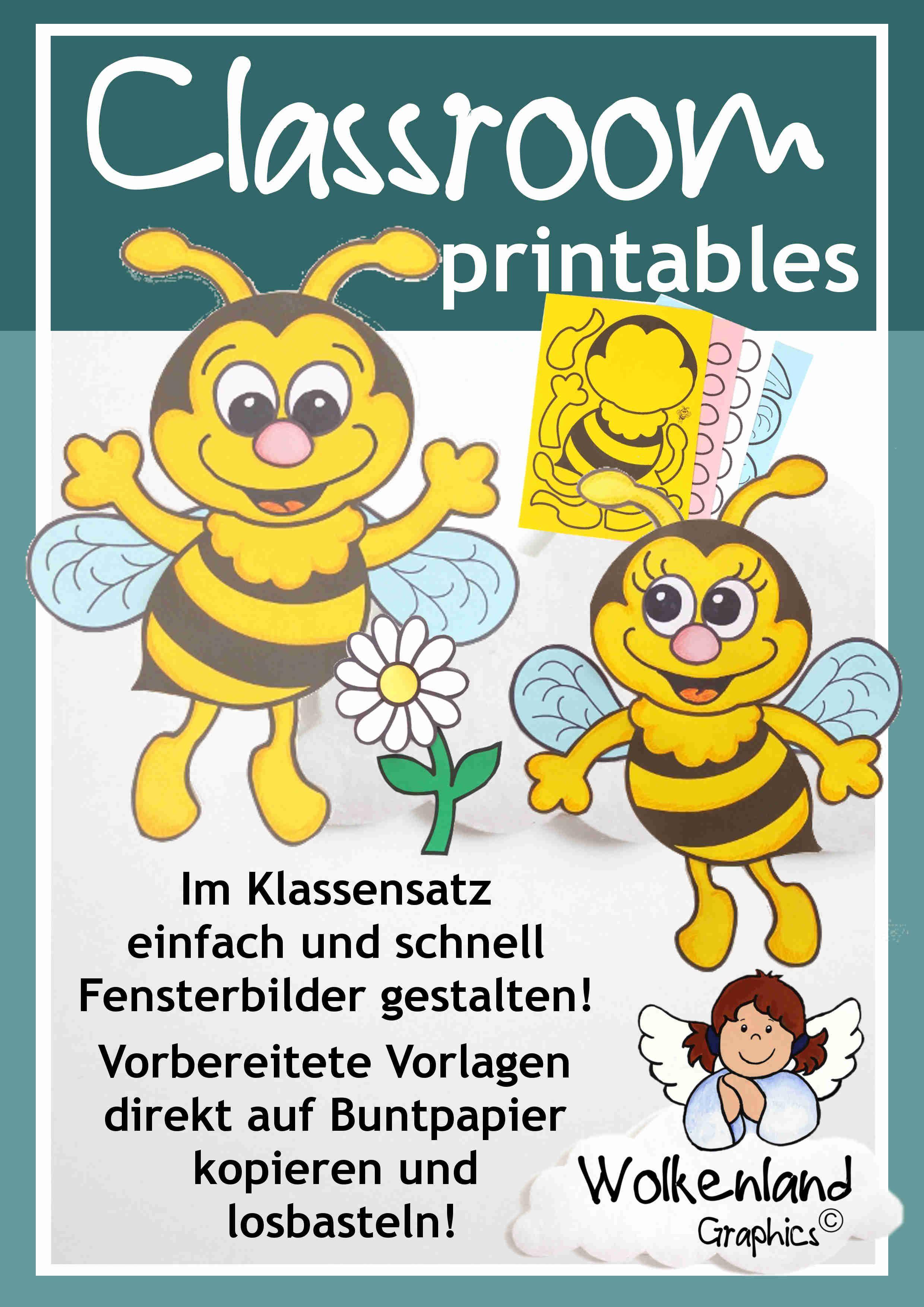 Bienen basteln Insekten Wiese Fensterbild Bastelvorlage ...