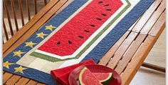 Match Your Decor with Subdued Primitive Colors, Vivid Brights or Something In Between! A bit of fusible applique applied to a pieced background adds sparkle to this charming watermelon table runner. You'll love having this to display on your table or wall all summer long. It will also be fun on your patio table, and …
