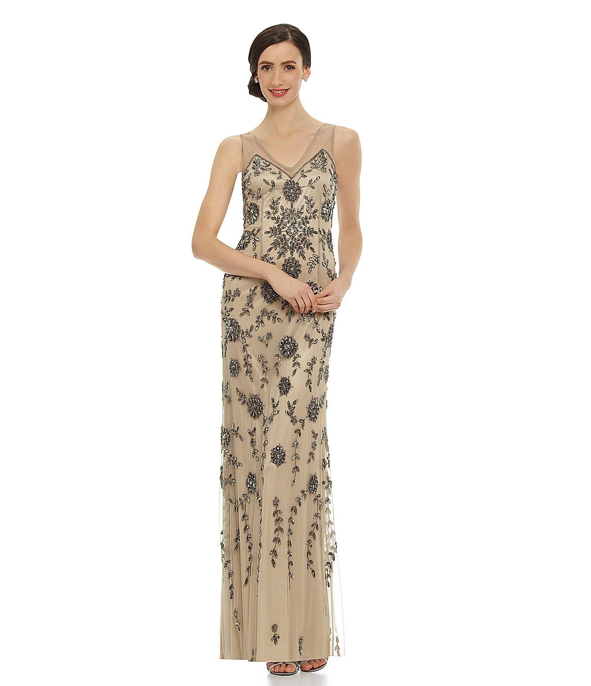 Adrianna Papell Illusion-Strap Beaded Gown   Dillards.com $198