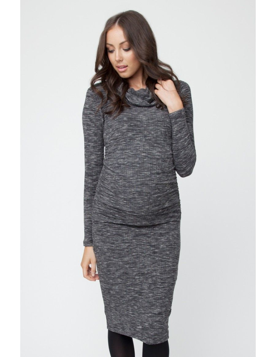 170a0715003 Ribbed Roll Neck Dress - Black Roll Neck Dress