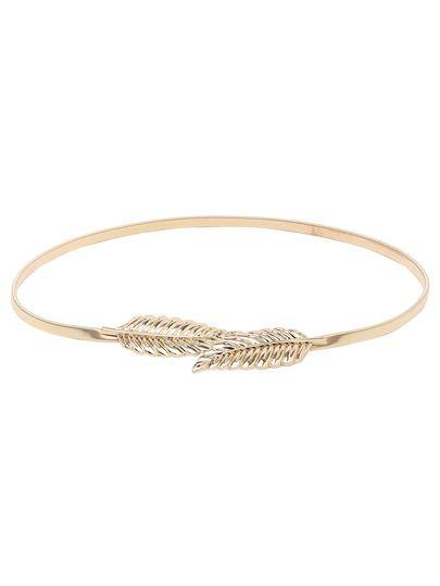 Cinturón hoja hebilla metal elástico -dorado   Cinturones de cuero ... 54629dee134