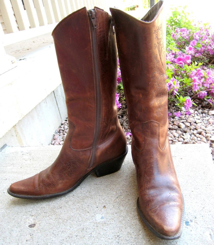 19f37560a1c Matisse Western Cowboy Boots- Hand Tooled Floral - Brown Leather ...