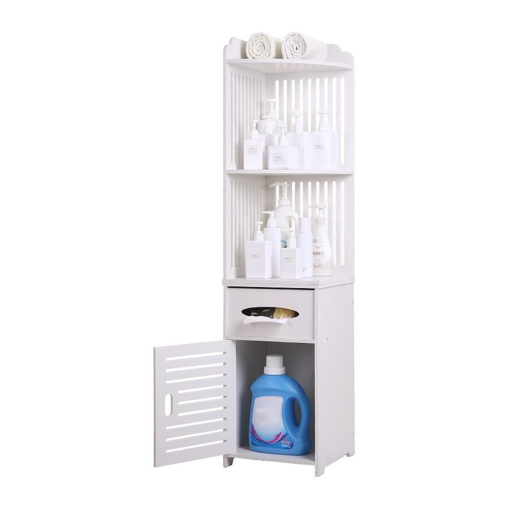 Zimtown Small Bathroom Storage Corner Floor Cabinet With Doors And Shelves Thin Bathroom Ca Small Bathroom Storage Bathroom Storage Bathroom Floor Storage