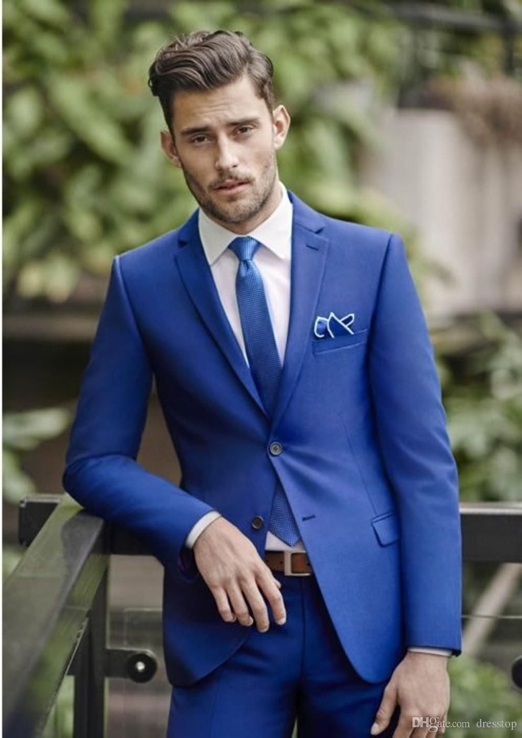 00e0b806574d Classy Blue Wedding Mens Suits Slim Fit Bridegroom Tuxedos For Men Three  Pieces Groomsmen Suit Cheap Formal Business Jackets With Vest Black And  White ...