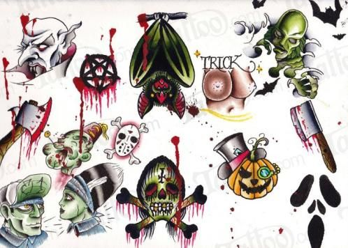 Horror Traditional Flash Zombie Tattoos Halloween Tattoos