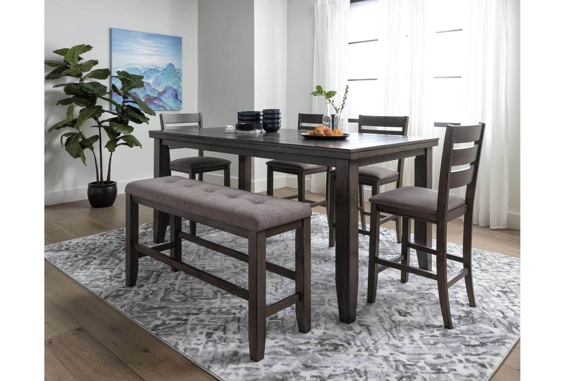 Ashford Ii 6 Piece Extension Counter Set In 2020 Counter Height Dining Table Set Counter Height Dining Table Grey Dining Tables