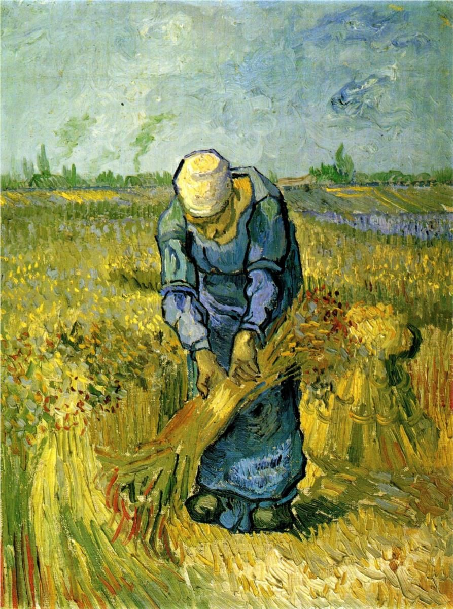 Vincent van Gogh ~ Peasant Woman Binding Sheaves (after Millet), 1889