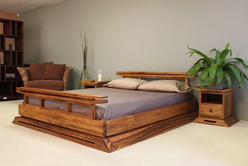 Asian bed platform style teak