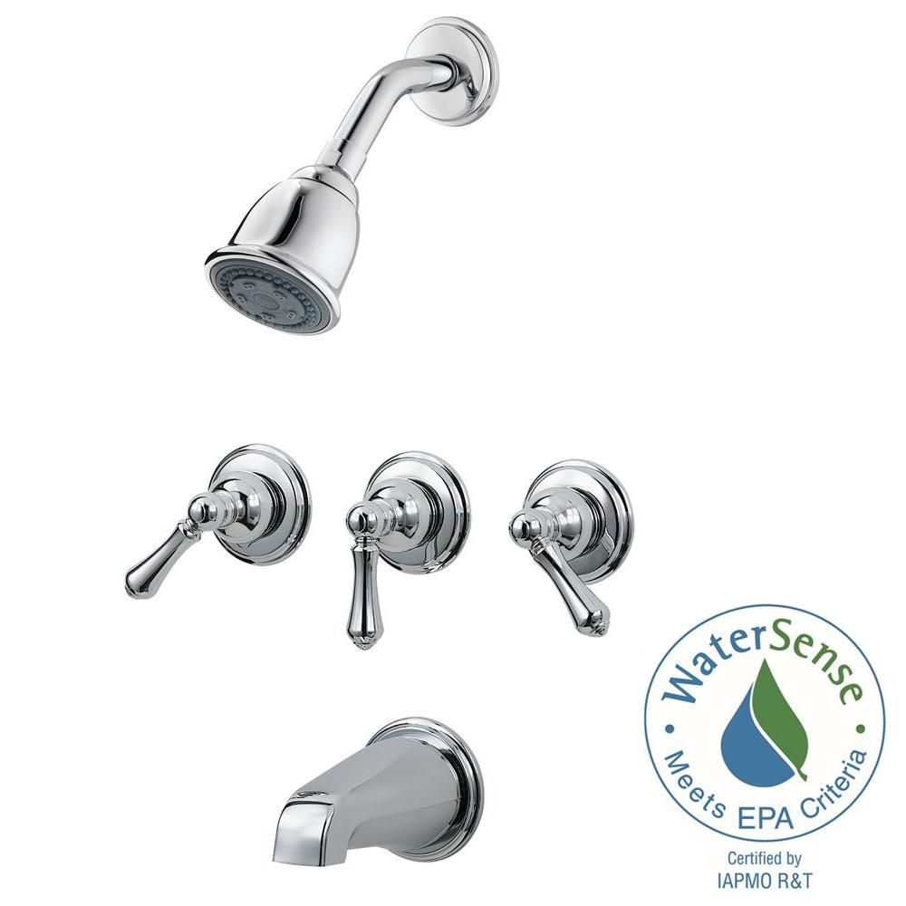 Pfister 3 Handle Tub And Shower Faucet Trim Kit In Polished