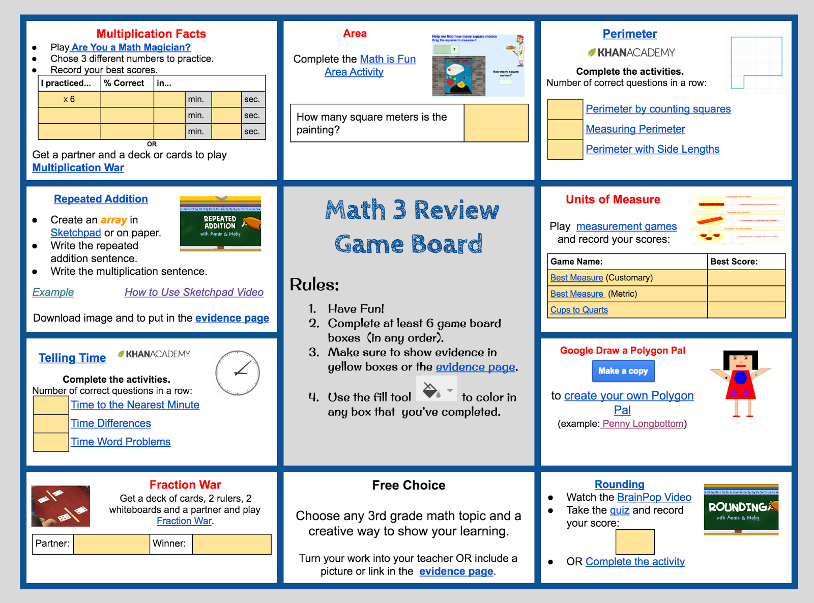 Math Review Game Board Need a fun way to have students review topics ...