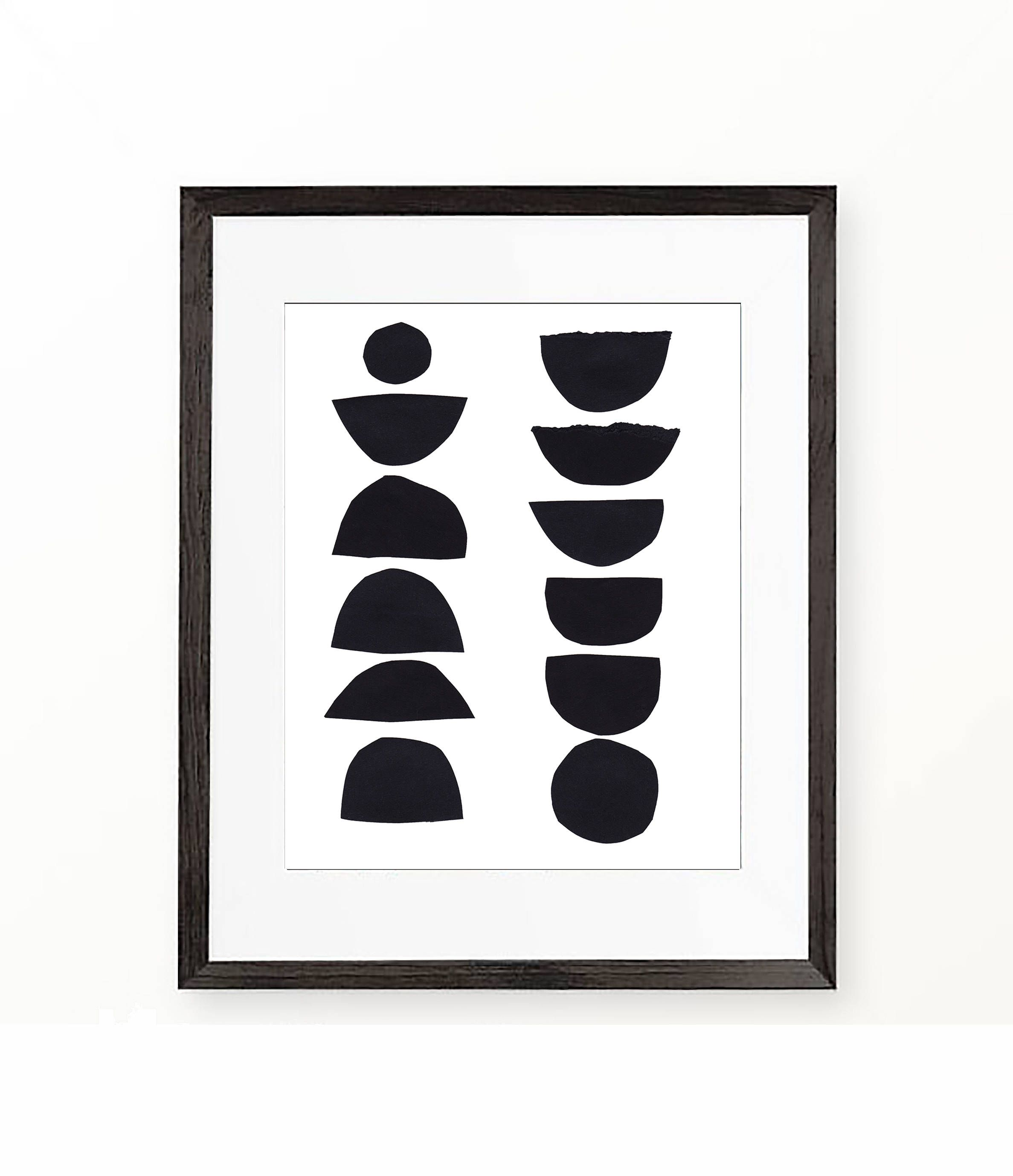 Black and white art geometric abstract art paper collage digital