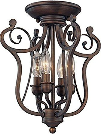 bronze iron semi flush mount ceiling light fixture graceful harp scroll design chandelier pendant light fixture