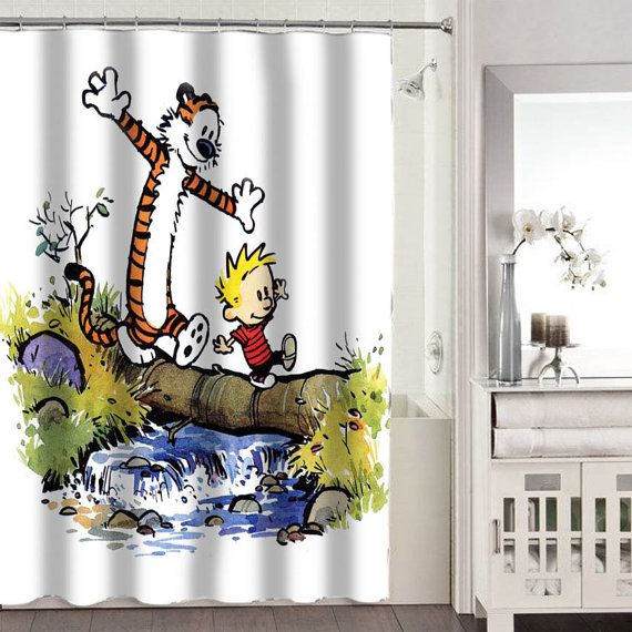 calvin and hobbes shower curtains adorabel bathroom by on watchman on the wall calvin id=18747