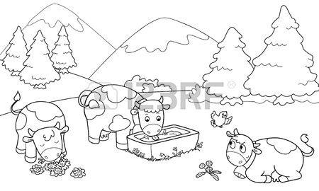 Tres vacas lindo en las monta as Ilustraci n para colorear para los ...