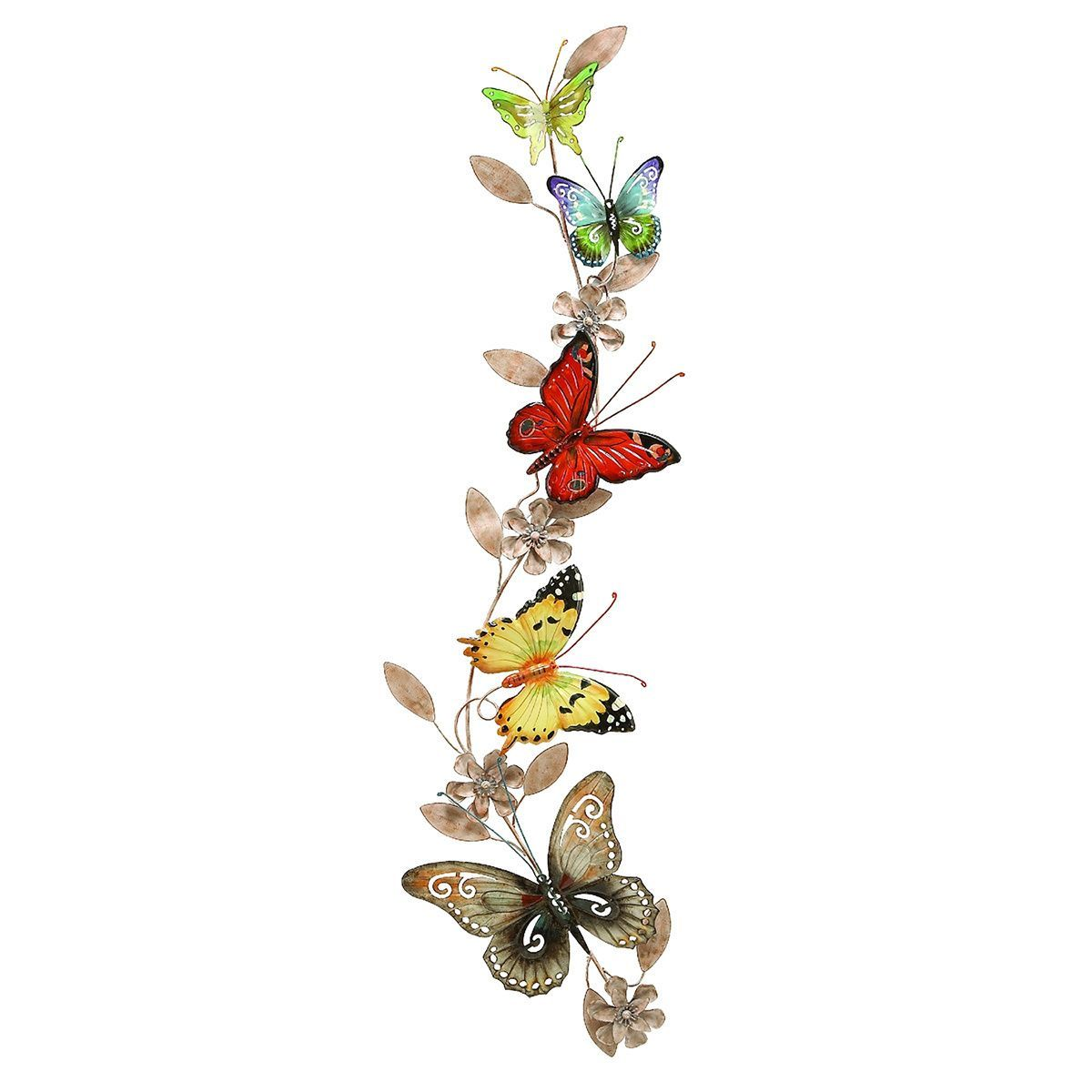 This gorgeous metal wall decoration features colorful butterflies ...