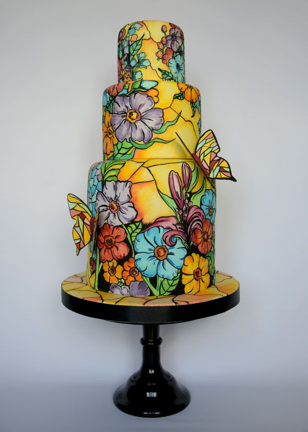 Hand-painted Showcase | Satin Ice cake by Laura Dodimead of Cakey Bakes Cakes.