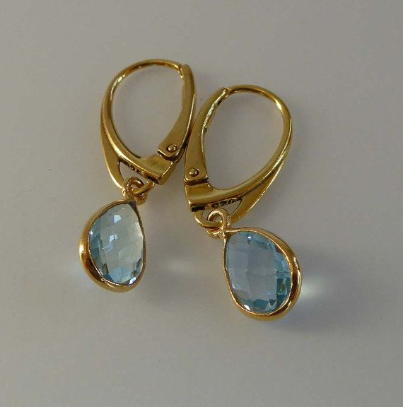 Sky Blue Topaz Gold Vermeil earrings lever by TheresaHingJewellery