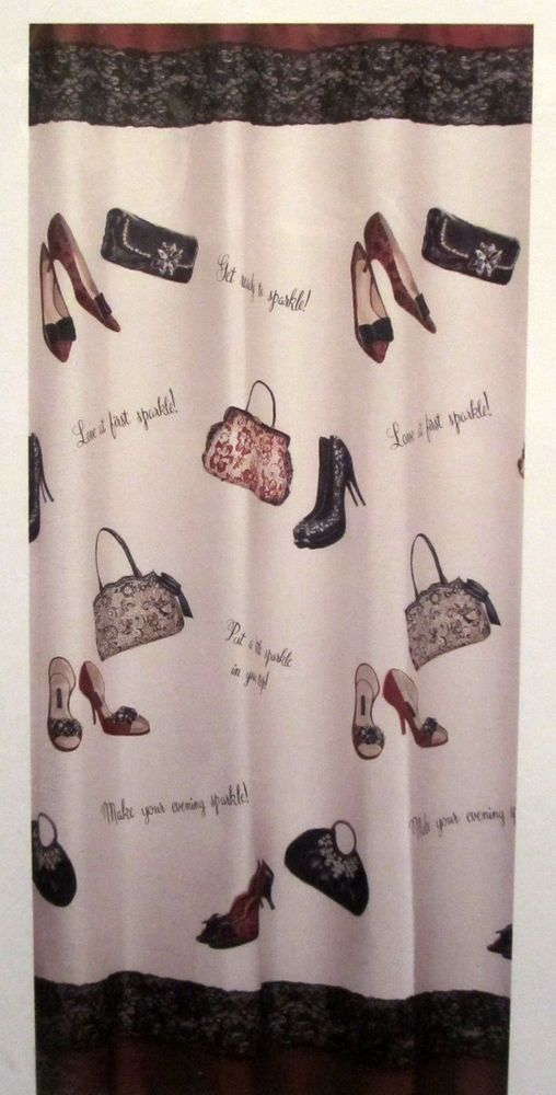 Chantilly Saturday Knight Fashion High Heel Shoes Purses Fabric Shower Curtain