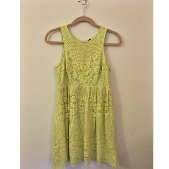Free People flowy lace dress Yellow-green, lace, open back, worn once Free People Dresses Mini