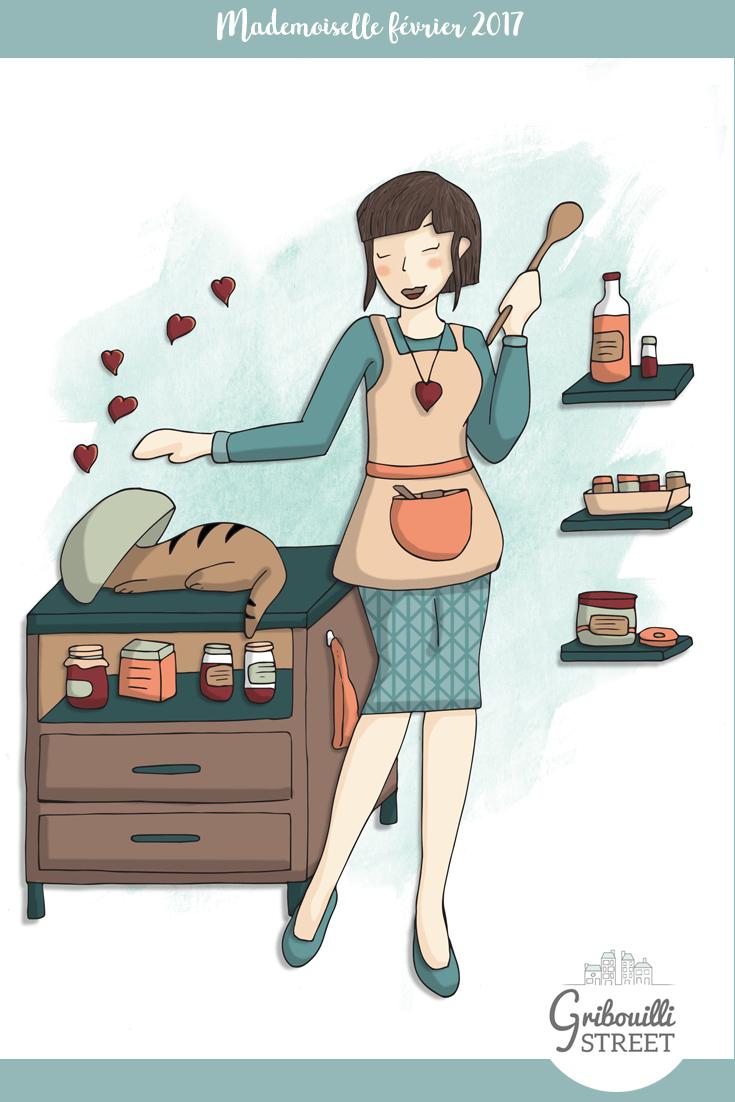 Mademoiselle février est gourmande et enjouée. Des crêpes, du chocolat... février est un bon mois. Mais la cuisine est vite envahie par un drôle de petit animal