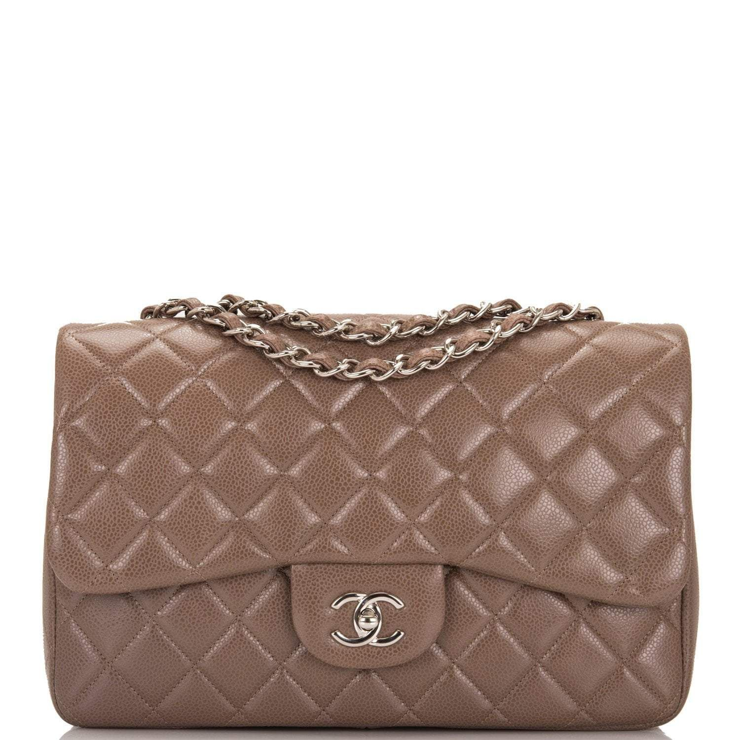 8b292ab4c68d Chanel Brown Quilted Caviar Jumbo Classic Single Flap Bag